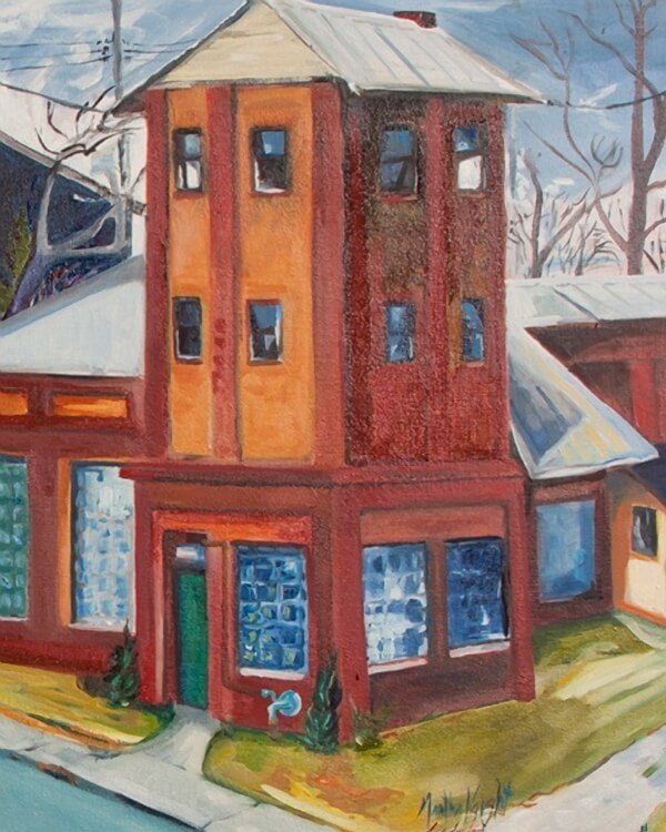 Detail of oil painting by Martha Lindenborg Vaught (Icehouse Harvest Irvington and the B & O Rails)